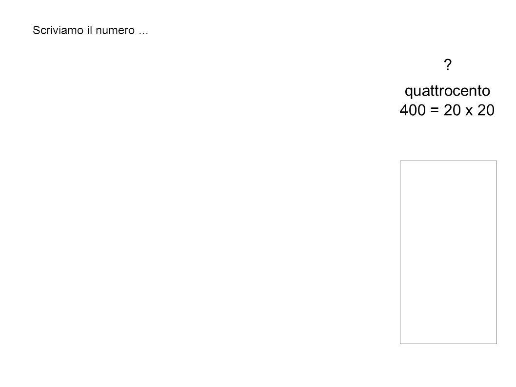 Scriviamo il numero... quattrocento 400 = 20 x 20