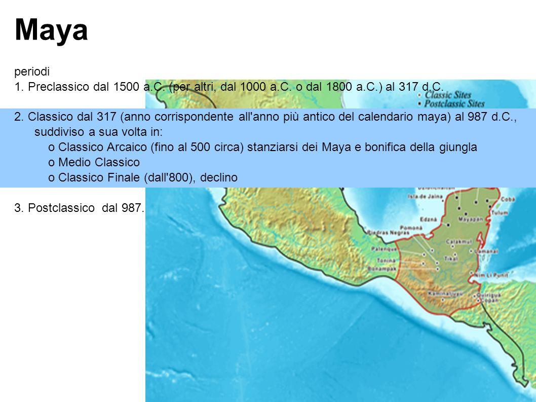 Maya periodi 1. Preclassico dal 1500 a.C. (per altri, dal 1000 a.C.