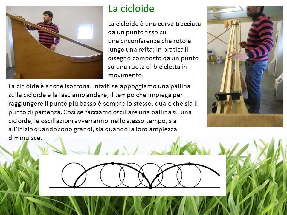 La cicloide La cicloide è una curva tracciata da un punto fisso su una circonferenza che rotola lungo una retta; in pratica il disegno composto da un