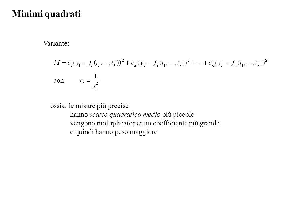 Minimi quadrati Variante: con ossia: le misure più precise hanno scarto quadratico medio più piccolo vengono moltiplicate per un coefficiente più gran