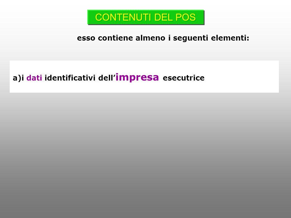 a)i dati identificativi dell impresa esecutrice CONTENUTI DEL POS esso contiene almeno i seguenti elementi: