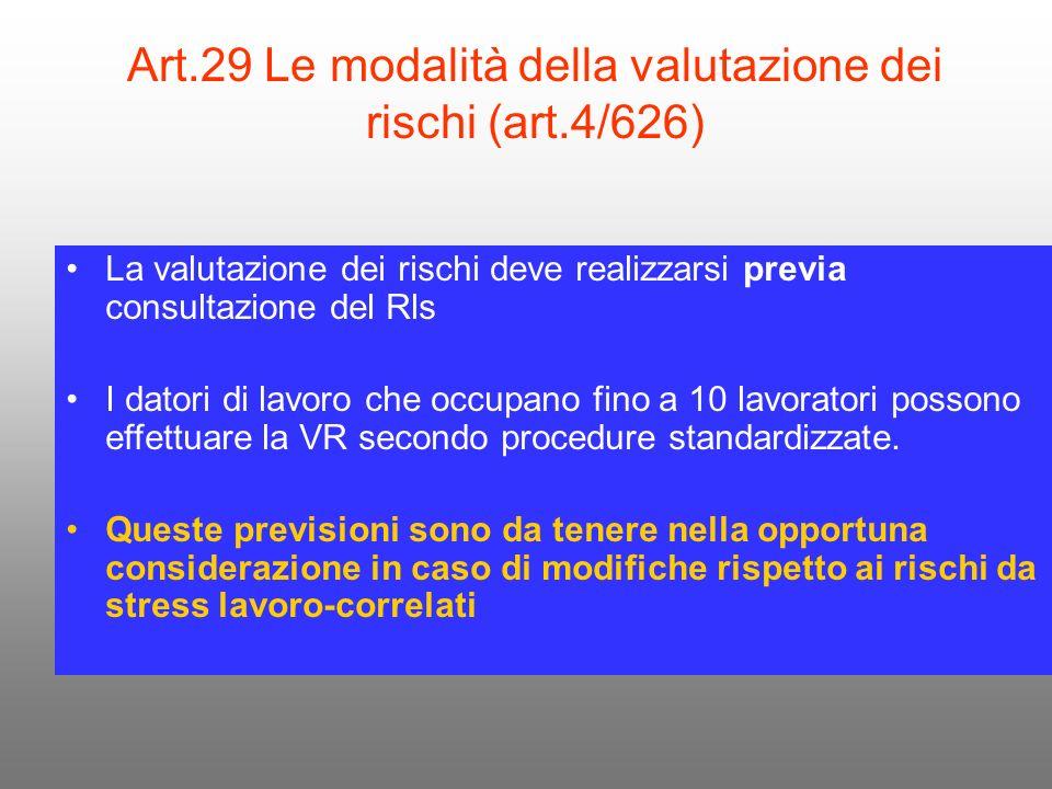 Art.29 Le modalità della valutazione dei rischi (art.4/626) La valutazione dei rischi deve realizzarsi previa consultazione del Rls I datori di lavoro