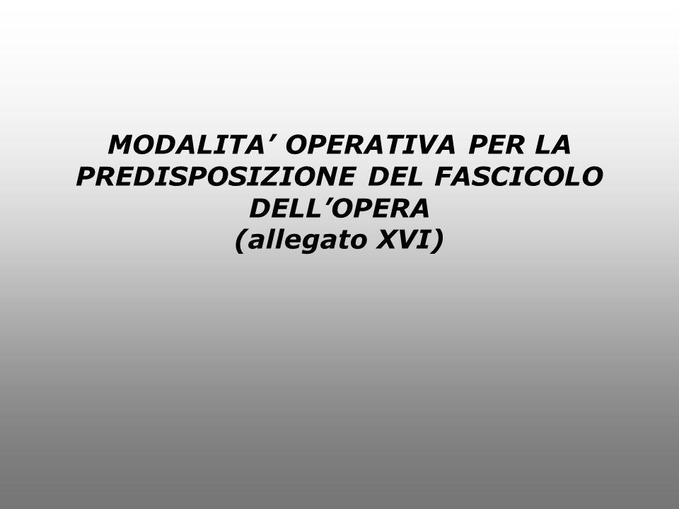 MODALITA OPERATIVA PER LA PREDISPOSIZIONE DEL FASCICOLO DELLOPERA (allegato XVI)