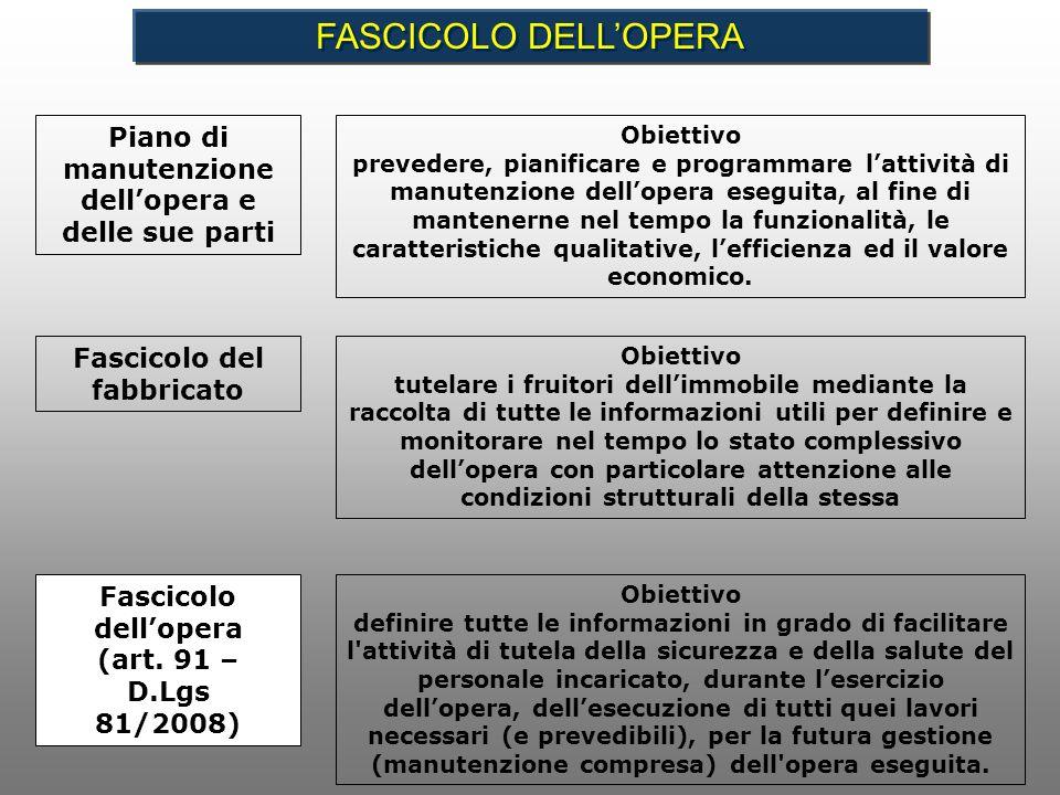 Piano di manutenzione dellopera e delle sue parti Obiettivo prevedere, pianificare e programmare lattività di manutenzione dellopera eseguita, al fine