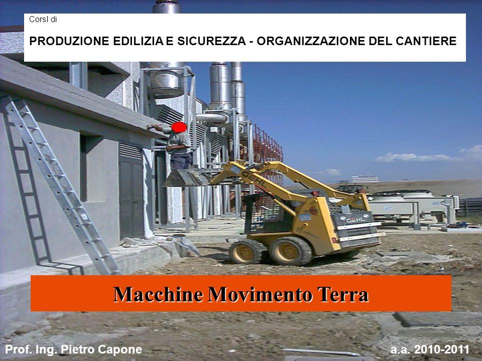 Macchine Movimento Terra CorsI di PRODUZIONE EDILIZIA E SICUREZZA - ORGANIZZAZIONE DEL CANTIERE Prof. Ing. Pietro Caponea.a. 2010-2011