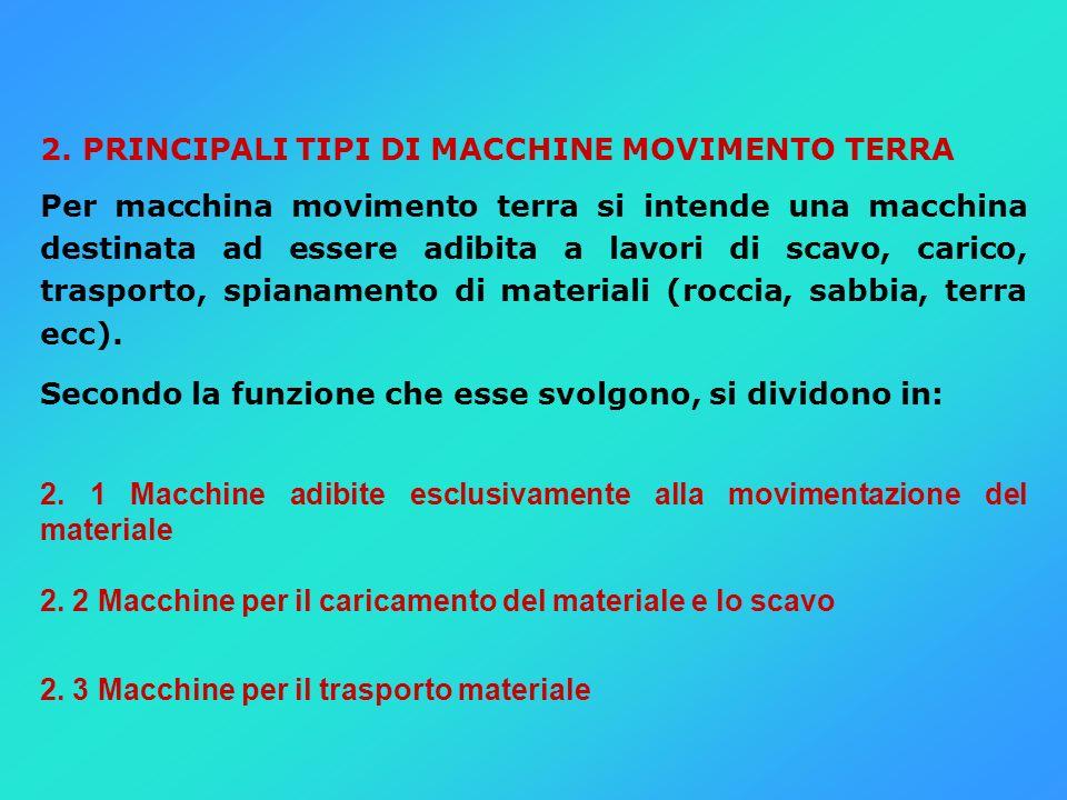 2. PRINCIPALI TIPI DI MACCHINE MOVIMENTO TERRA Per macchina movimento terra si intende una macchina destinata ad essere adibita a lavori di scavo, car