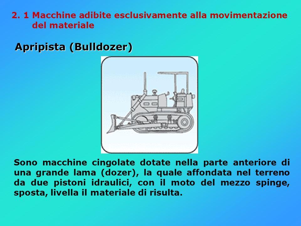 2. 1 Macchine adibite esclusivamente alla movimentazione del materiale Apripista (Bulldozer) Apripista (Bulldozer) Sono macchine cingolate dotate nell