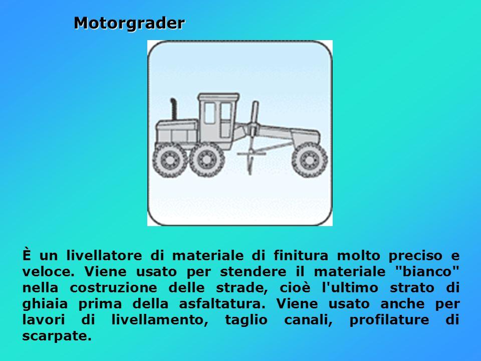 Motorgrader È un livellatore di materiale di finitura molto preciso e veloce. Viene usato per stendere il materiale