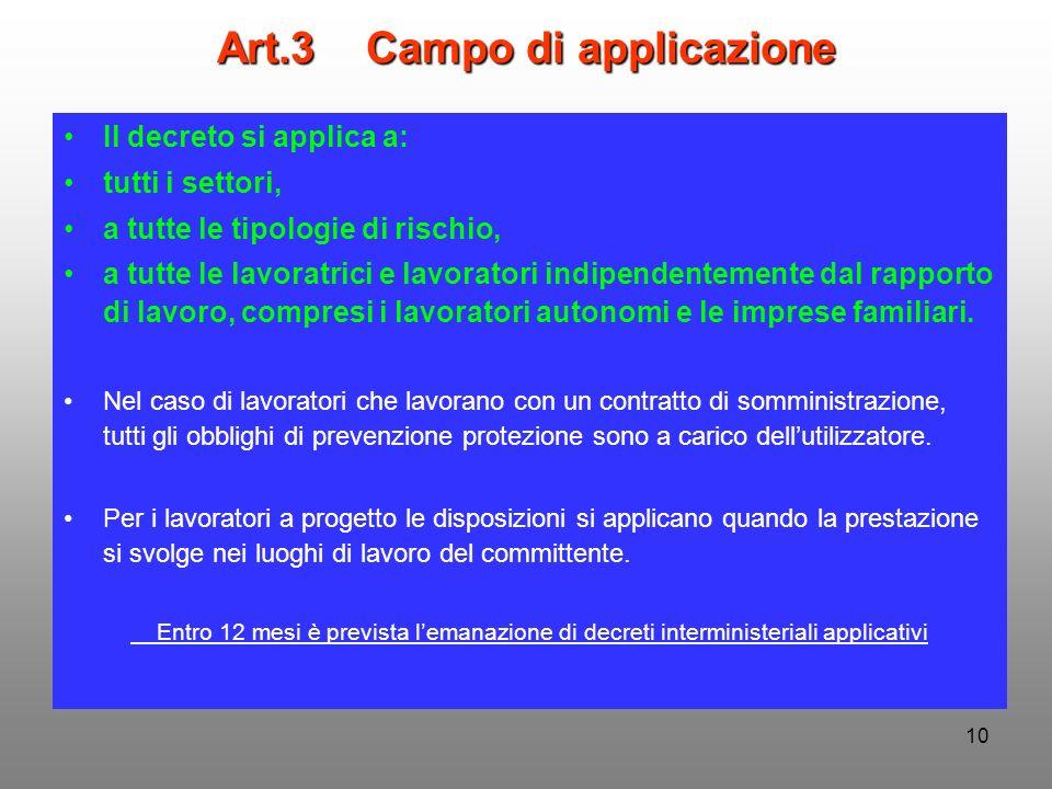 10 Art.3 Campo di applicazione Il decreto si applica a: tutti i settori, a tutte le tipologie di rischio, a tutte le lavoratrici e lavoratori indipend