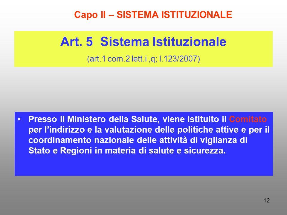 12 Art. 5 Sistema Istituzionale (art.1 com.2 lett.i,q; l.123/2007) Presso il Ministero della Salute, viene istituito il Comitato per lindirizzo e la v