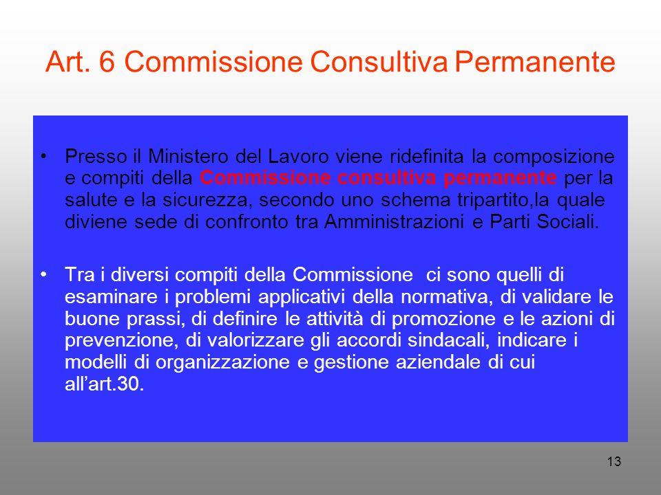 13 Art. 6 Commissione Consultiva Permanente Presso il Ministero del Lavoro viene ridefinita la composizione e compiti della Commissione consultiva per