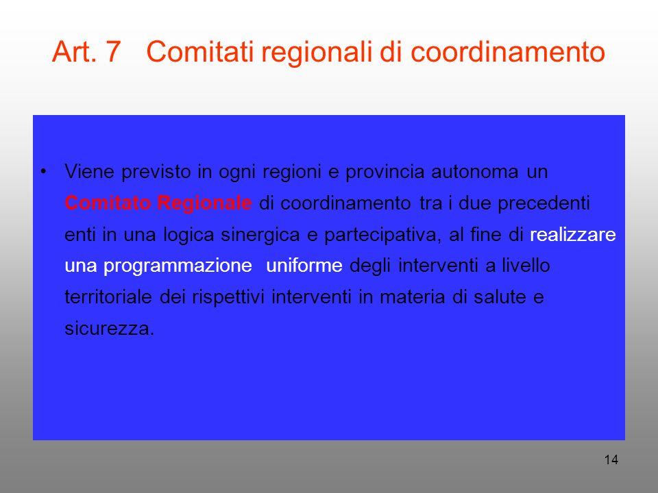 14 Art. 7 Comitati regionali di coordinamento Viene previsto in ogni regioni e provincia autonoma un Comitato Regionale di coordinamento tra i due pre