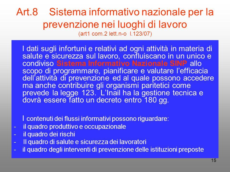 15 Art.8 Sistema informativo nazionale per la prevenzione nei luoghi di lavoro (art1 com.2 lett.n-o l.123/07) I dati sugli infortuni e relativi ad ogn