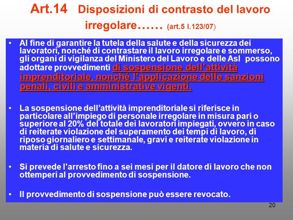 20 Art.14 Disposizioni di contrasto del lavoro irregolare …… (art.5 l.123/07) di sospensione dellattività imprenditoriale, nonché lapplicazione delle