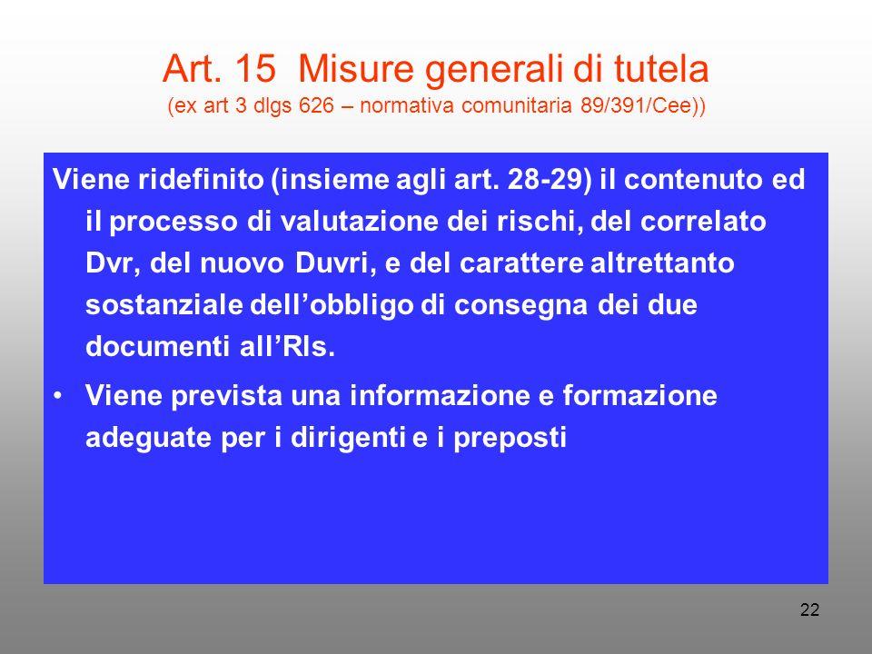22 Art. 15 Misure generali di tutela (ex art 3 dlgs 626 – normativa comunitaria 89/391/Cee)) Viene ridefinito (insieme agli art. 28-29) il contenuto e