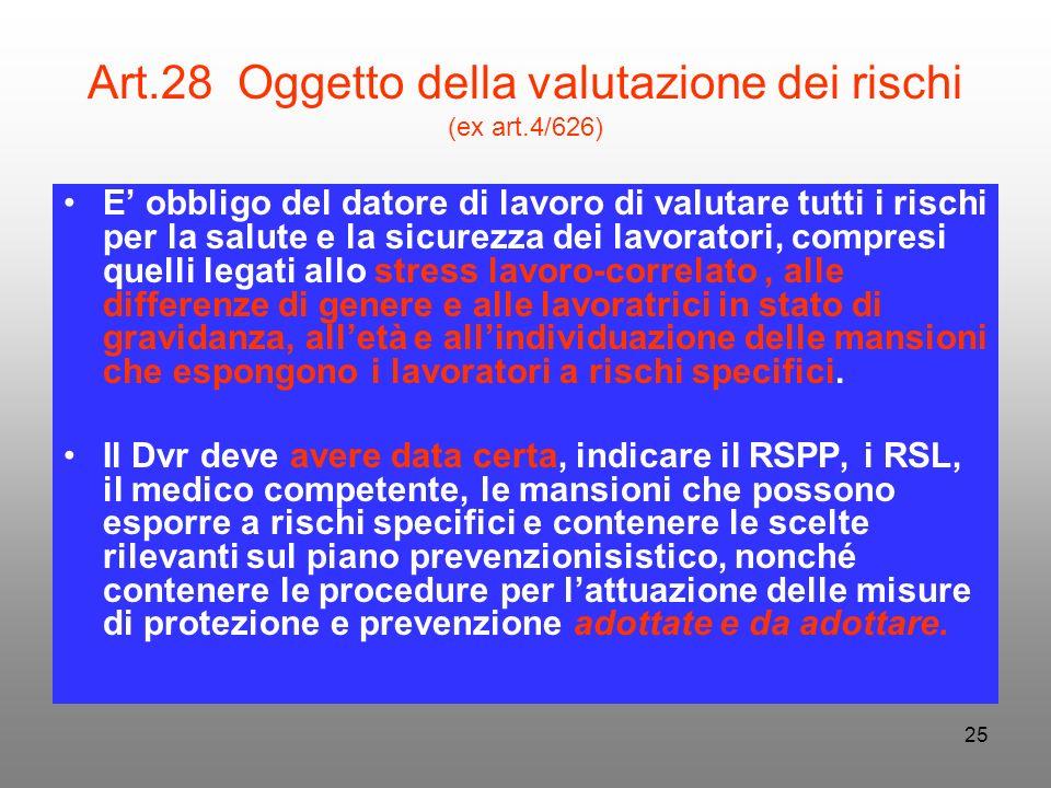 25 Art.28 Oggetto della valutazione dei rischi (ex art.4/626) E obbligo del datore di lavoro di valutare tutti i rischi per la salute e la sicurezza d