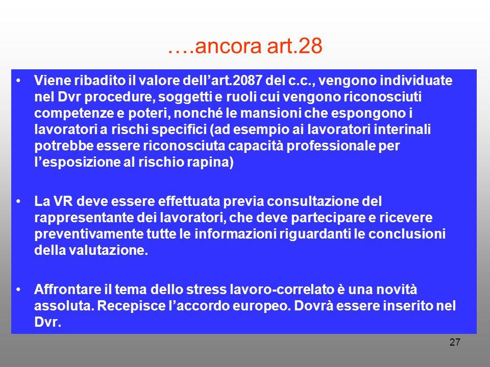 27 ….ancora art.28 Viene ribadito il valore dellart.2087 del c.c., vengono individuate nel Dvr procedure, soggetti e ruoli cui vengono riconosciuti co