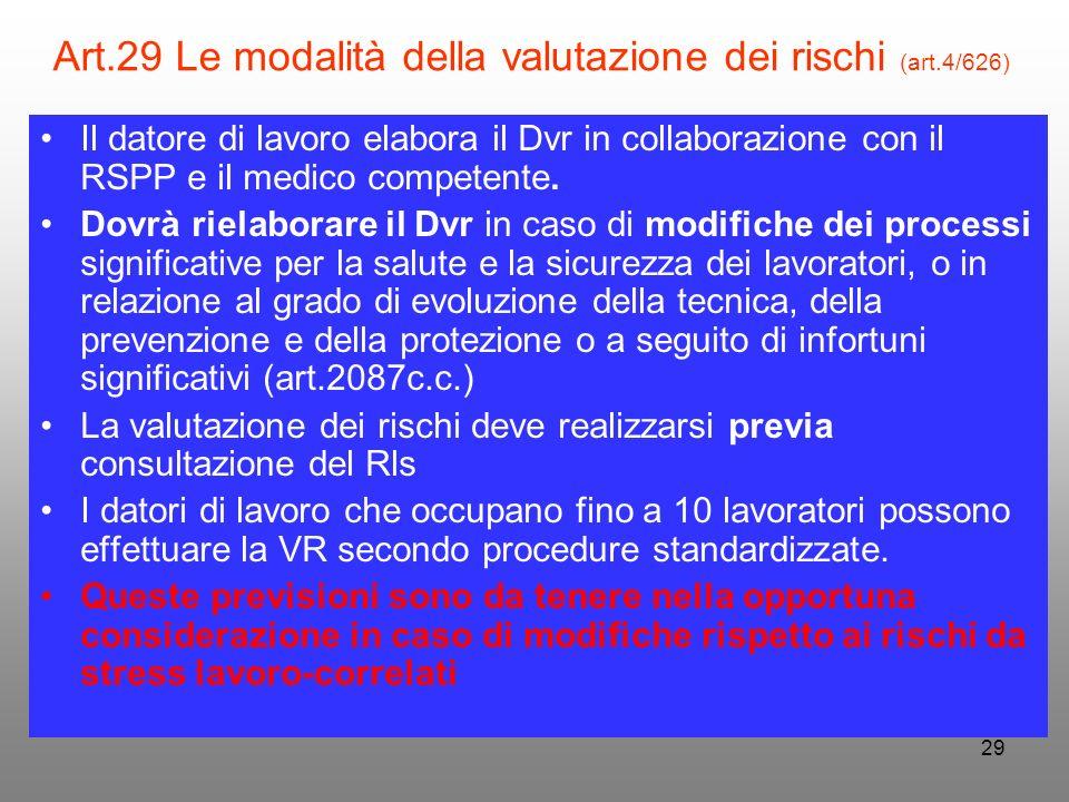 29 Art.29 Le modalità della valutazione dei rischi (art.4/626) Il datore di lavoro elabora il Dvr in collaborazione con il RSPP e il medico competente