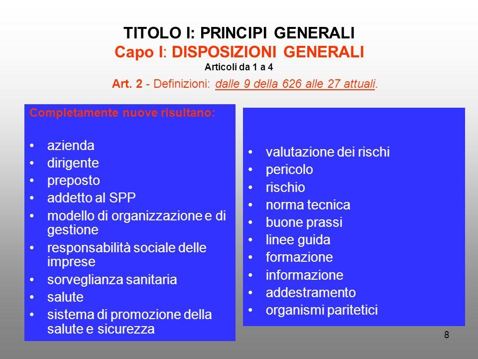 8 TITOLO I: PRINCIPI GENERALI Capo I: DISPOSIZIONI GENERALI Articoli da 1 a 4 Completamente nuove risultano: azienda dirigente preposto addetto al SPP
