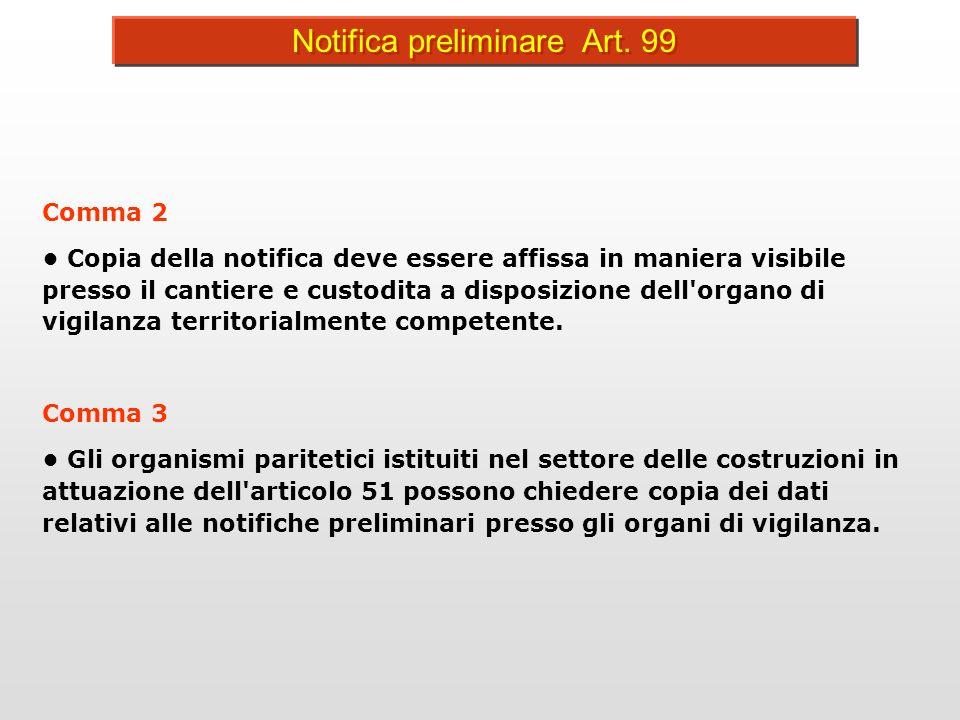 NOTIFICA PRELIMINARE CONTENUTO DELLA NOTIFICA PRELIMINARE 1.