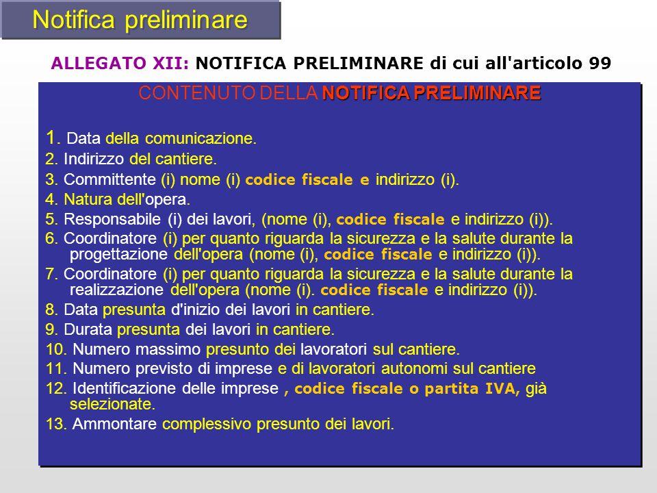 NOTIFICA PRELIMINARE CONTENUTO DELLA NOTIFICA PRELIMINARE 1. Data della comunicazione. 2. Indirizzo del cantiere. 3. Committente (i) nome (i) codice f