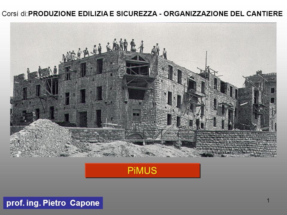 1 PiMUS prof. ing. Pietro Capone Corsi di:PRODUZIONE EDILIZIA E SICUREZZA - ORGANIZZAZIONE DEL CANTIERE