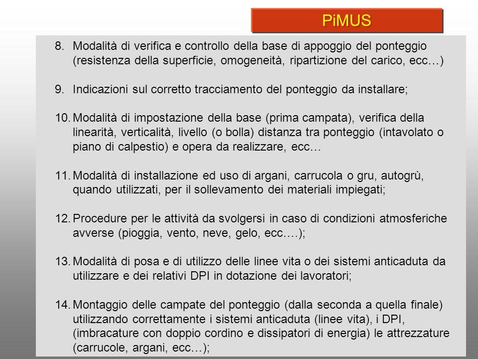 7 8.Modalità di verifica e controllo della base di appoggio del ponteggio (resistenza della superficie, omogeneità, ripartizione del carico, ecc…) 9.I