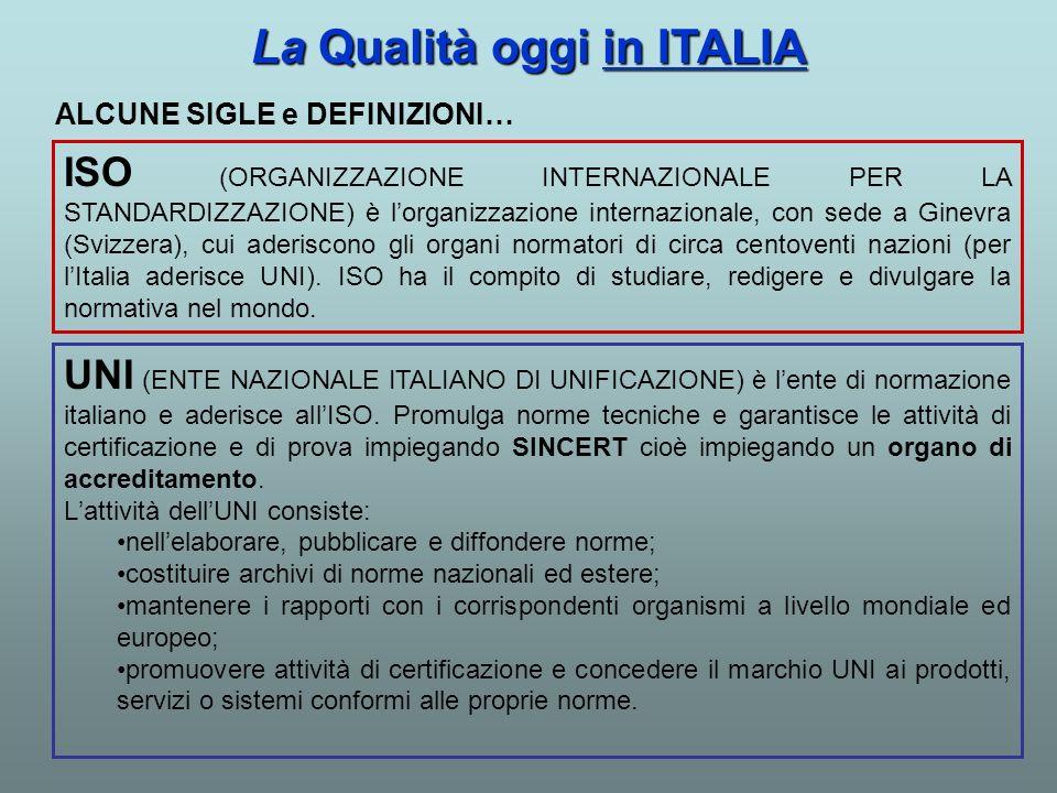 La Qualità oggi in ITALIA ISO (ORGANIZZAZIONE INTERNAZIONALE PER LA STANDARDIZZAZIONE) è lorganizzazione internazionale, con sede a Ginevra (Svizzera)