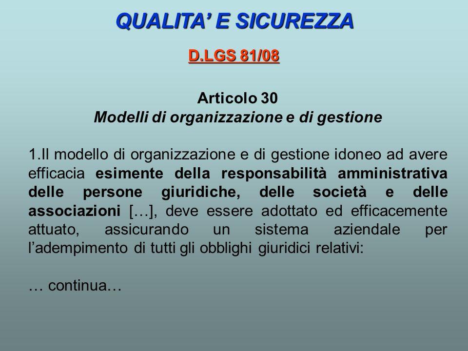 Articolo 30 Modelli di organizzazione e di gestione 1.Il modello di organizzazione e di gestione idoneo ad avere efficacia esimente della responsabili