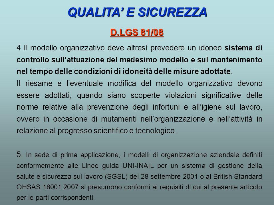 4 Il modello organizzativo deve altresì prevedere un idoneo sistema di controllo sullattuazione del medesimo modello e sul mantenimento nel tempo dell