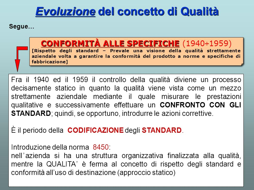 Evoluzione del concetto di Qualità Fra il 1940 ed il 1959 il controllo della qualità diviene un processo decisamente statico in quanto la qualità vien