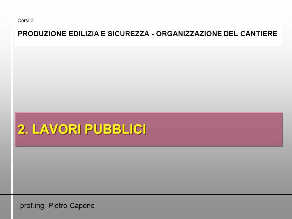 2. LAVORI PUBBLICI CorsI di PRODUZIONE EDILIZIA E SICUREZZA - ORGANIZZAZIONE DEL CANTIERE prof.ing. Pietro Capone