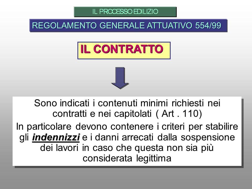 IL CONTRATTO REGOLAMENTO GENERALE ATTUATIVO 554/99 Sono indicati i contenuti minimi richiesti nei contratti e nei capitolati ( Art. 110) indennizzi In