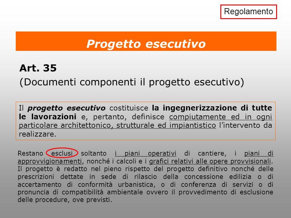 Progetto esecutivo Art. 35 (Documenti componenti il progetto esecutivo) progetto esecutivo Il progetto esecutivo costituisce la ingegnerizzazione di t