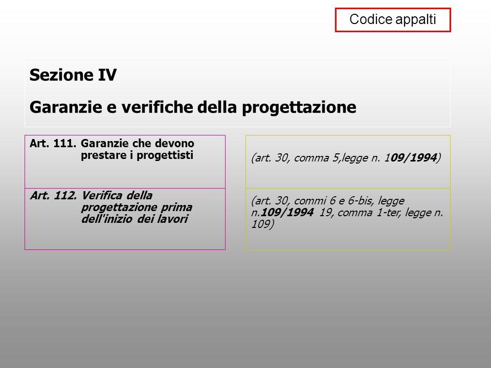 Sezione IV Garanzie e verifiche della progettazione Art. 111. Garanzie che devono prestare i progettisti Art. 112. Verifica della progettazione prima
