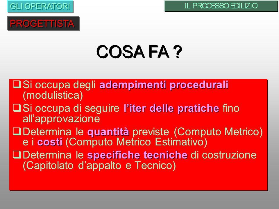 adempimenti procedurali Si occupa degli adempimenti procedurali (modulistica) liter delle pratiche Si occupa di seguire liter delle pratiche fino alla
