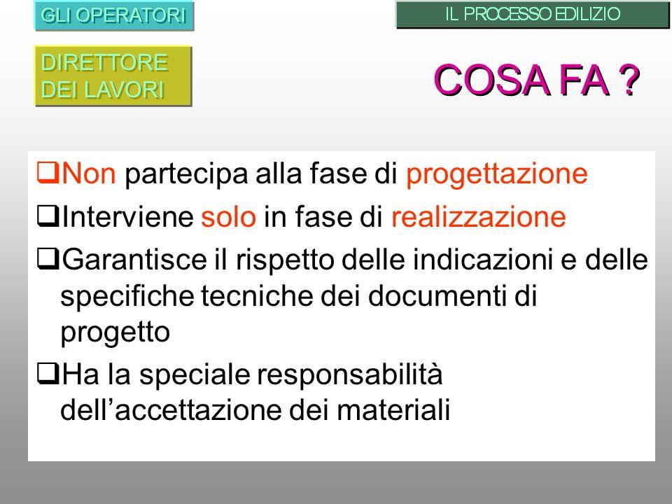 Non partecipa alla fase di progettazione Interviene solo in fase di realizzazione Garantisce il rispetto delle indicazioni e delle specifiche tecniche dei documenti di progetto Ha la speciale responsabilità dellaccettazione dei materiali GLI OPERATORI COSA FA .