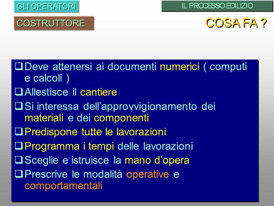 Deve attenersi ai documenti numerici ( computi e calcoli ) Allestisce il cantiere Si interessa dellapprovvigionamento dei materiali e dei componenti P