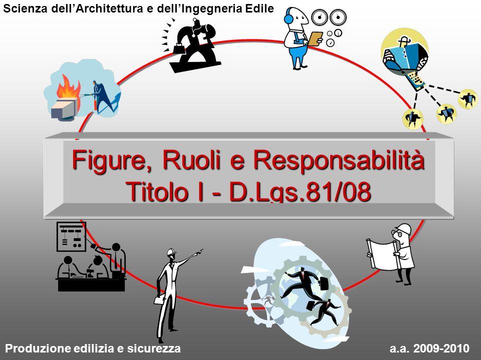 Figure, Ruoli e Responsabilità Titolo I - D.Lgs.81/08 Produzione edilizia e sicurezza a.a. 2009-2010 Scienza dellArchitettura e dellIngegneria Edile