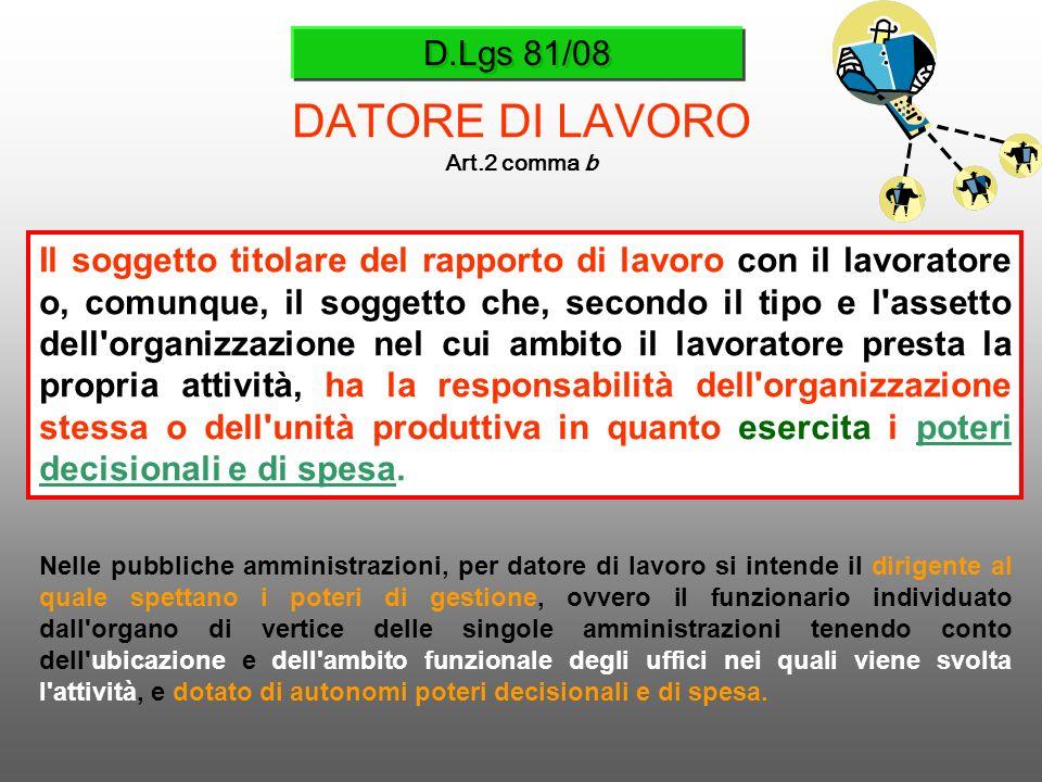 D.Lgs 81/08 DATORE DI LAVORO Art.2 comma b Il soggetto titolare del rapporto di lavoro con il lavoratore o, comunque, il soggetto che, secondo il tipo