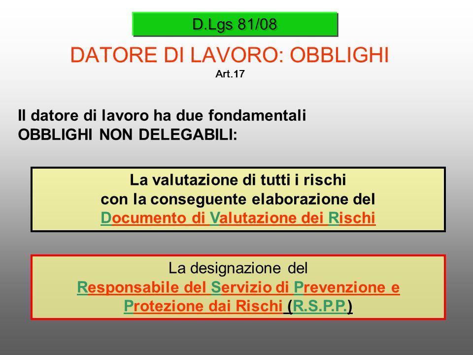 D.Lgs 81/08 DATORE DI LAVORO: OBBLIGHI Art.17 Il datore di lavoro ha due fondamentali OBBLIGHI NON DELEGABILI: La valutazione di tutti i rischi con la