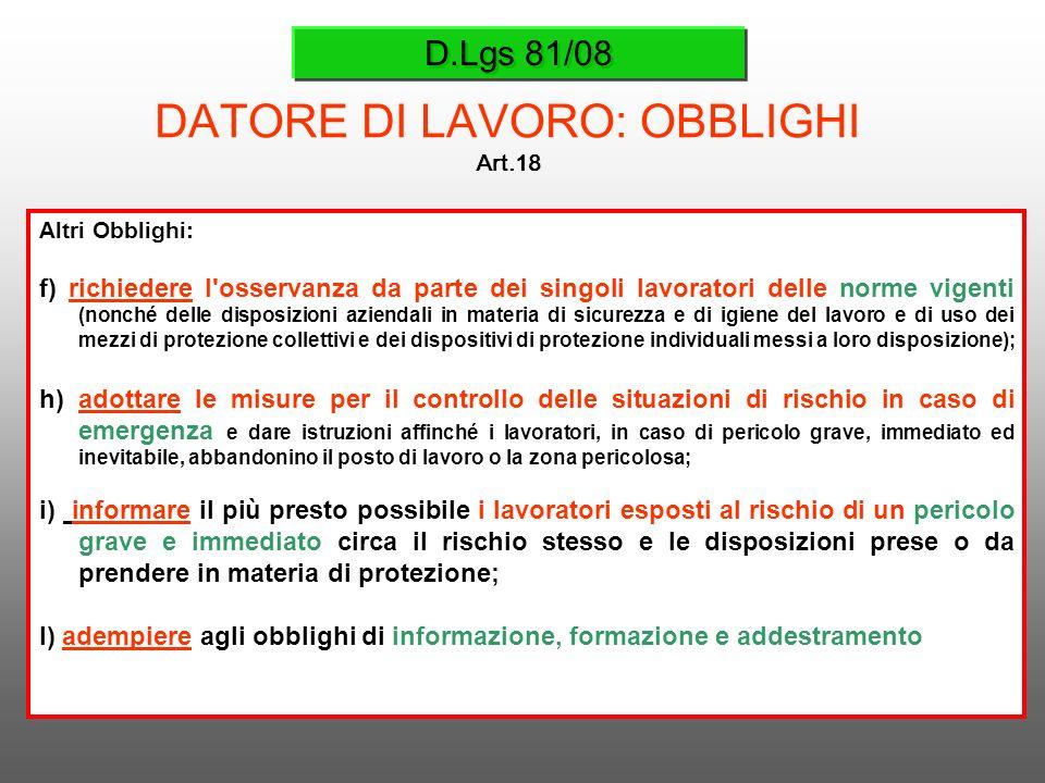 D.Lgs 81/08 DATORE DI LAVORO: OBBLIGHI Art.18 Altri Obblighi: f) richiedere l'osservanza da parte dei singoli lavoratori delle norme vigenti (nonché d