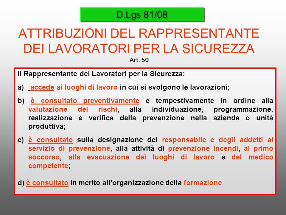 D.Lgs 81/08 ATTRIBUZIONI DEL RAPPRESENTANTE DEI LAVORATORI PER LA SICUREZZA Art. 50 Il Rappresentante dei Lavoratori per la Sicurezza: a) accede ai lu
