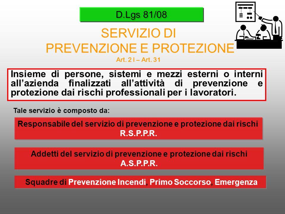 D.Lgs 81/08 SERVIZIO DI PREVENZIONE E PROTEZIONE Art. 2 l – Art. 31 Insieme di persone, sistemi e mezzi esterni o interni allazienda finalizzati allat