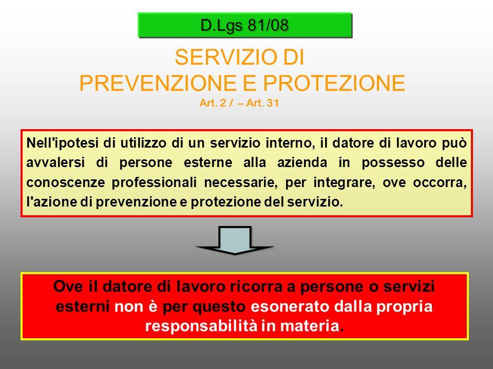 D.Lgs 81/08 SERVIZIO DI PREVENZIONE E PROTEZIONE Art. 2 l – Art. 31 Nell'ipotesi di utilizzo di un servizio interno, il datore di lavoro può avvalersi