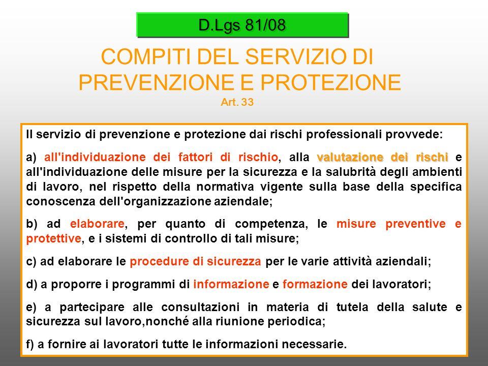 D.Lgs 81/08 COMPITI DEL SERVIZIO DI PREVENZIONE E PROTEZIONE Art. 33 Il servizio di prevenzione e protezione dai rischi professionali provvede: valuta