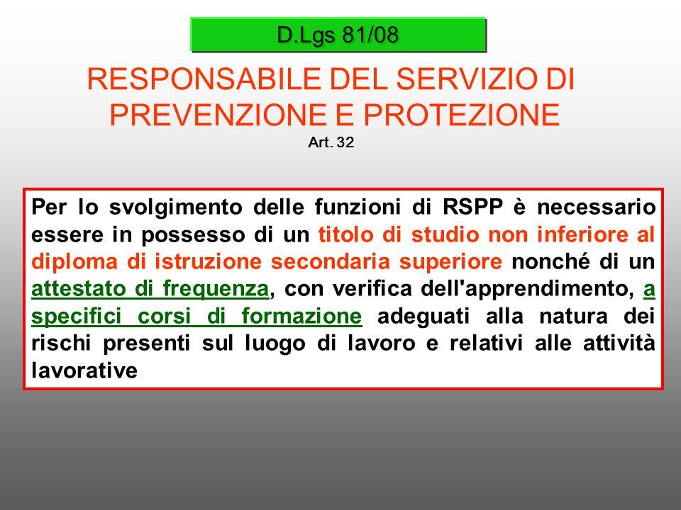 D.Lgs 81/08 RESPONSABILE DEL SERVIZIO DI PREVENZIONE E PROTEZIONE Art. 32 Per lo svolgimento delle funzioni di RSPP è necessario essere in possesso di