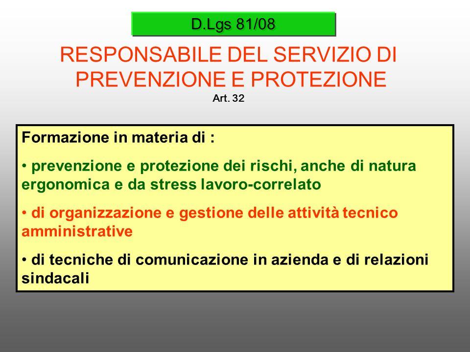 D.Lgs 81/08 RESPONSABILE DEL SERVIZIO DI PREVENZIONE E PROTEZIONE Art. 32 Formazione in materia di : prevenzione e protezione dei rischi, anche di nat