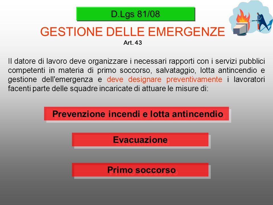 D.Lgs 81/08 GESTIONE DELLE EMERGENZE Art. 43 Il datore di lavoro deve organizzare i necessari rapporti con i servizi pubblici competenti in materia di