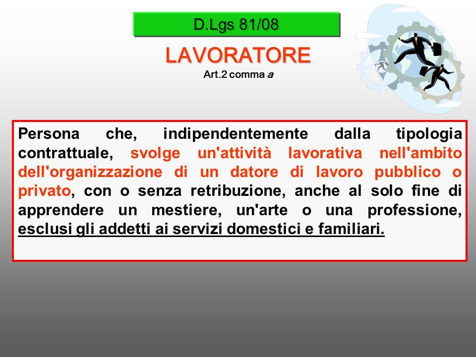 D.Lgs 81/08 LAVORATORE Art.2 comma a Persona che, indipendentemente dalla tipologia contrattuale, svolge un'attività lavorativa nell'ambito dell'organ